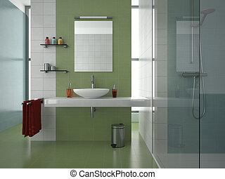 cuarto de baño, moderno, verde