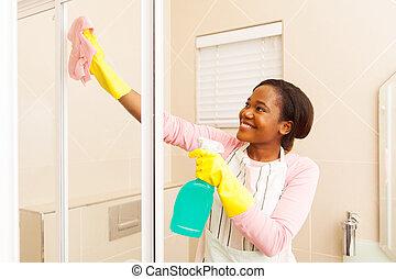 cuarto de baño, mujer, norteamericano, africano, limpieza
