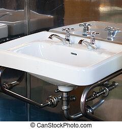 cuarto de baño, pared, vendimia, metal, fregadero, montado