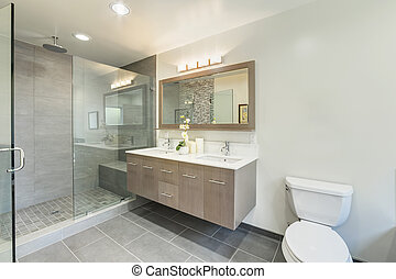 cuarto de baño, servicio, en, lujo, casa