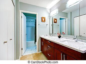 cuarto de baño, simple, gabinete, espejo, interior, vanidad