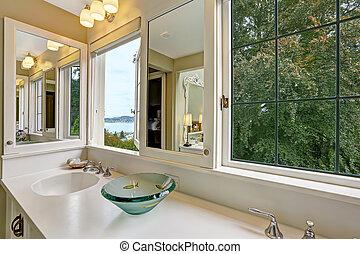 cuarto de baño, windows, vista, bahía, gabinete, vanidad
