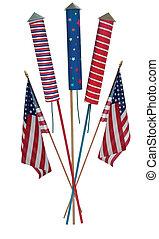 cuarto julio, cohetes, y, nosotros, banderas