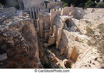 cuarto, musulmán, antiguo, piscinas, jerusalén, ruinas