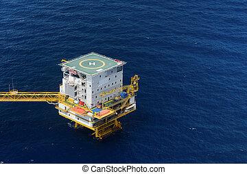 cuarto vivo, de, plataforma petrolífera cercana costa