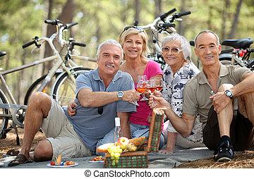 cuatro, 3º edad, brindar, picnic, gente