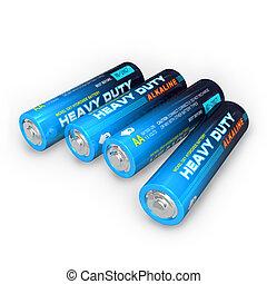 cuatro, aa, baterías