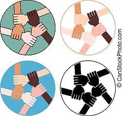 cuatro, amistad, círculo, variaciones