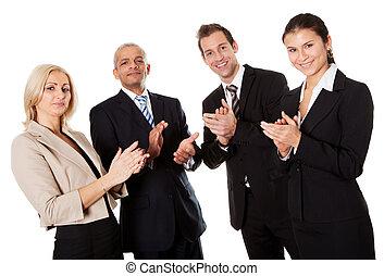 cuatro, aplaudiendo, empresarios