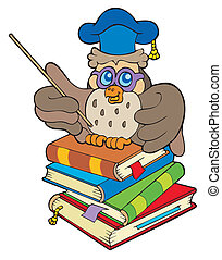 cuatro, búho, libros, profesor, sentado