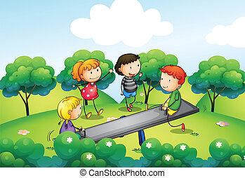 cuatro, balancín, niños, juego, colina