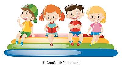 cuatro, balsa, flotar, niños, sentado