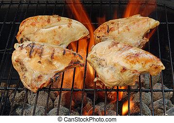 cuatro, barbacoa, pollo, pechos