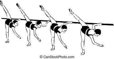 cuatro, bosquejo, niñas, clase del ballet clásico