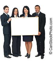 cuatro, businesspeople, con, bandera