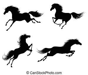 cuatro, caballos, siluetas