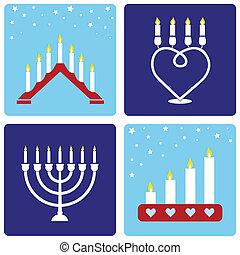 cuatro, candleholders, navidad
