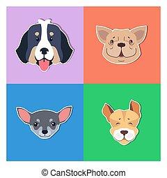 cuatro, canino, cabezas, de, pedigreed, perros, perrito, concepto