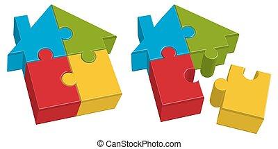 cuatro, casa, rompecabezas, partes