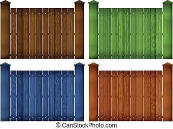 cuatro, colorido, de madera, cercas