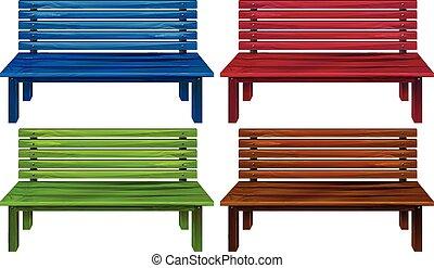 cuatro, colorido, sillas