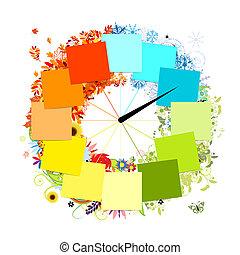 cuatro, concept., diseño, estaciones, clock.