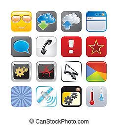 cuatro, conjunto, apps, icono