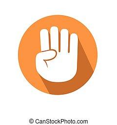 cuatro, dedos, gesto
