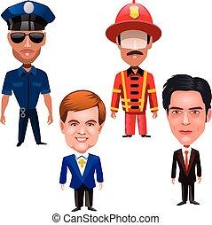 cuatro, diferente, hombres, profesiones