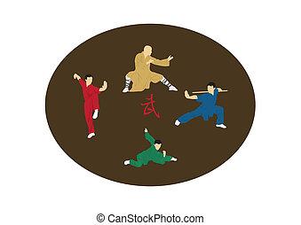 cuatro, enga, hombres, ilustración