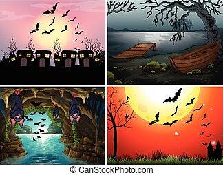 cuatro, escenas, con, murciélagos, por la noche