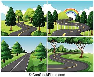 cuatro, escenas, de, caminos, en el parque