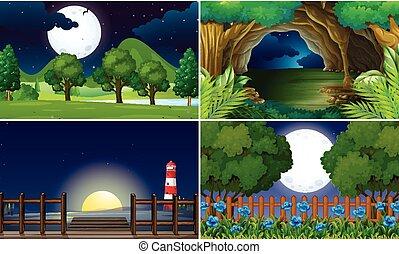 cuatro, escenas, por la noche, tiempo