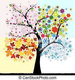 cuatro, estación, árbol