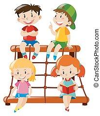 cuatro, estación, montañismo, niños, sentado
