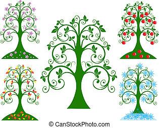 cuatro, estacional, árbol