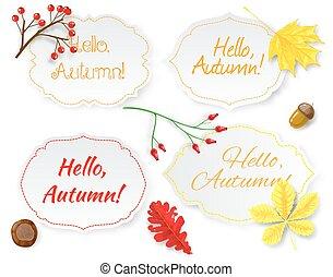 cuatro, etiquetas, con, letras, y, otoño sale