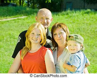 cuatro, familia , feliz