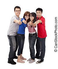 cuatro, feliz, joven, estudiante, con, pulgar up