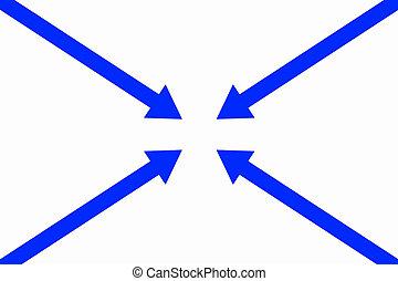 cuatro, flechas, en, uno, punto