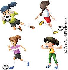 cuatro, futbol, niñas, juego