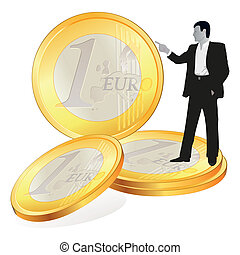 cuatro, grande, euro, coi, hombre de negocios