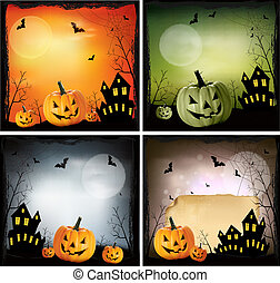 cuatro, halloween, backgrounds., vector