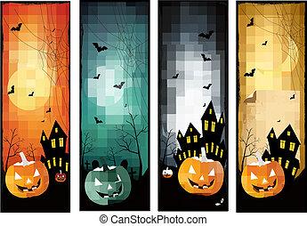 cuatro, halloween, banderas, vector