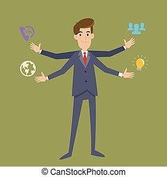 cuatro, hombre de negocios, multi, brazos, tasking