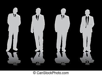 cuatro, hombres, empresa / negocio