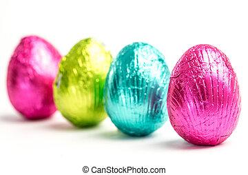 cuatro, huevos, pascua, fila