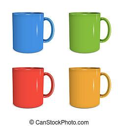 cuatro, jarras, colores, vario