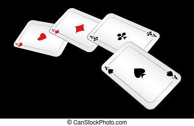 cuatro, juego, tarjetas.