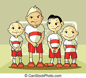 cuatro, jugador, futbol